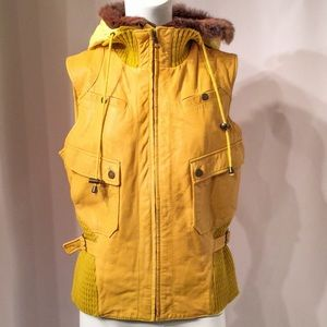 June Leather Vest with Removable Hood